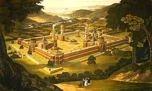 400px-New_Harmony_by_F._Bate_(View_of_a_Community,_as_proposed_by_Robert_Owen)_printed_1838
