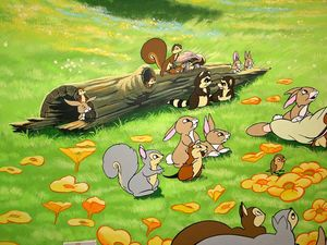 Squirrel-rabbit-log-cartoon