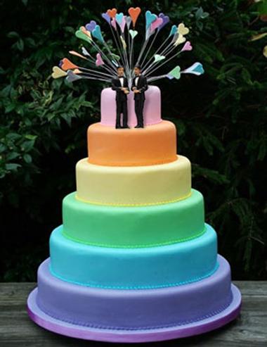 Gay rainbow wedding cake