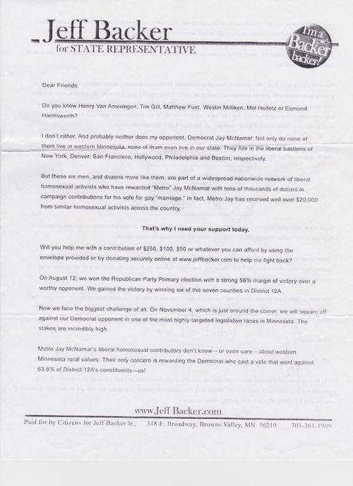 Backer letter