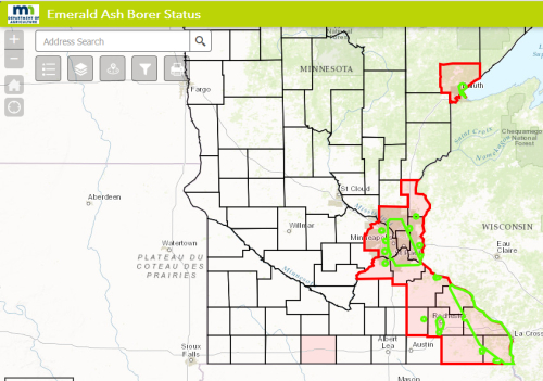 Evil weevil finds rude Welcome as MN Dept of Ag imposes ... on map of forest fires, map of ambergris, map of bay village, map of log country cove,